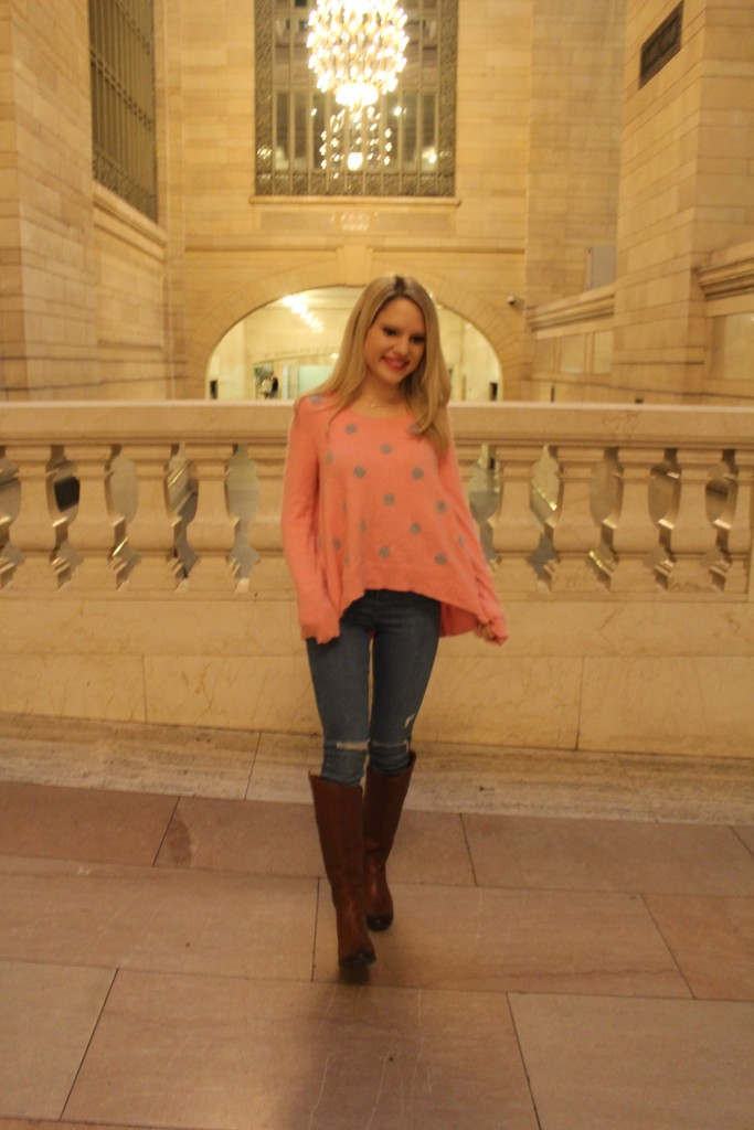 Caitlin Hartley of Styled American pink polka dot sweater