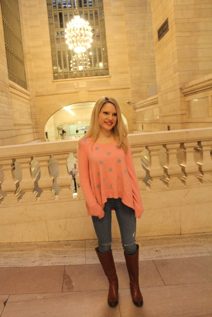 Caitlin Hartley of Styled American  chandelier in grand central