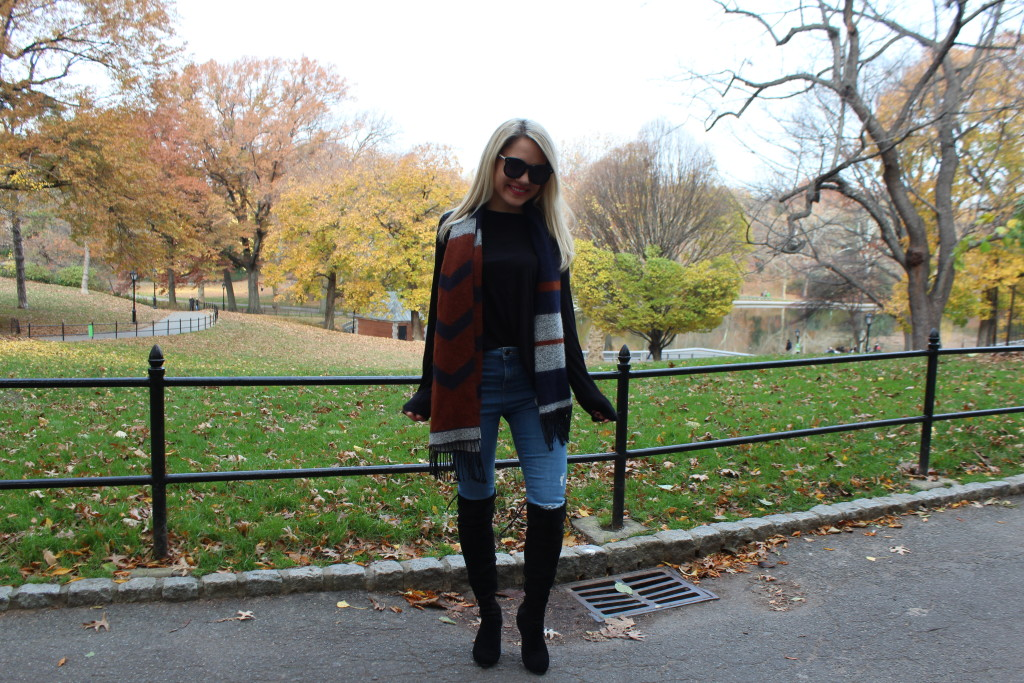 Caitlin Hartley of Styled American fall scarf, topshop jeans, she inside boots