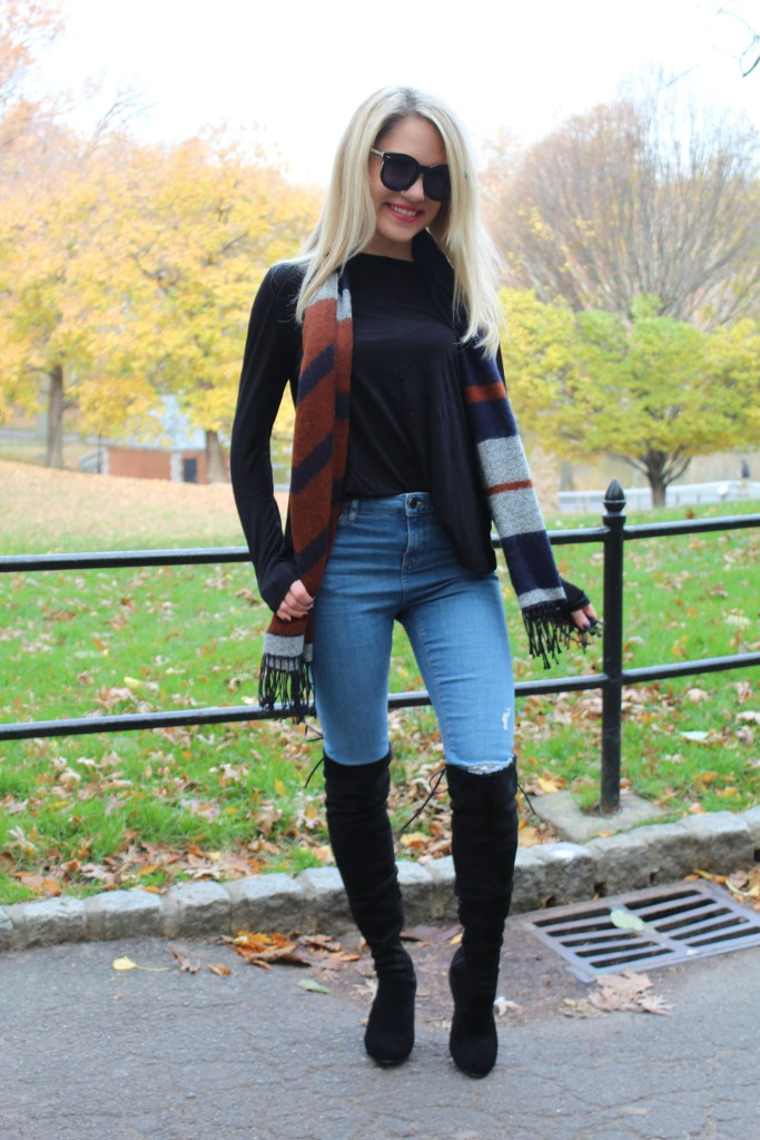 Caitlin Hartley of Styled American over the knee boots, stuart weitzman look-alikes