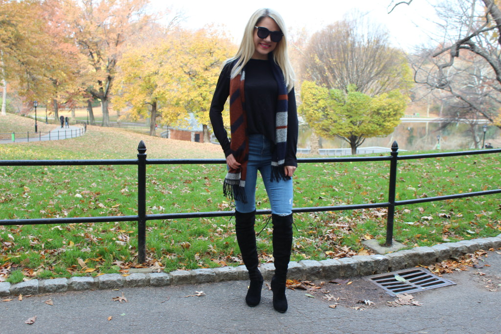 Caitlin Hartley of Styled American karen walker sunglasses, black asos top, scarf, ripped denim and over the knee boots