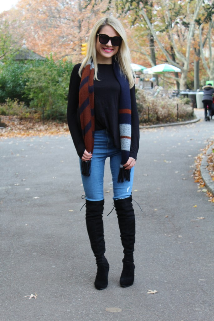 Caitlin Hartley of Styled American skinny jeans, scarf, over the knee boots
