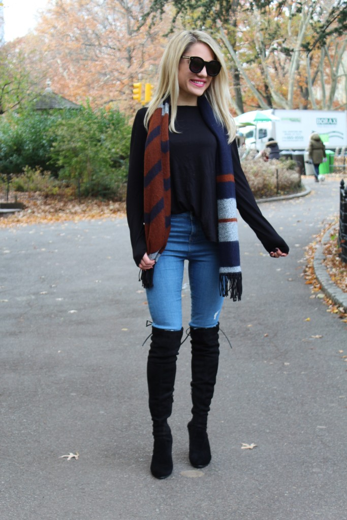 Caitlin Hartley of Styled American black top, affordable black over the knee boots