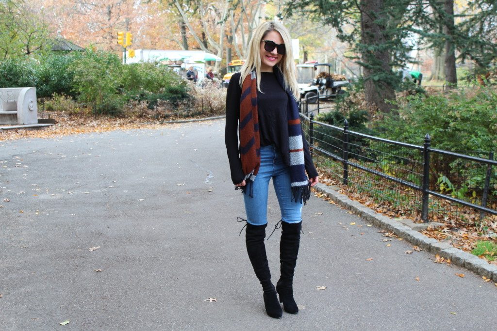 Caitlin Hartley of Styled American preppy scarf, ripped denim and over the knee boots