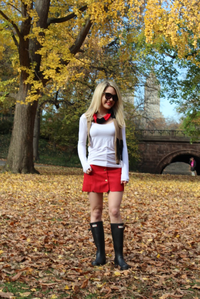 Caitlin Hartley of Styled American white fitted long sleeve top, red skirt and cute scarf