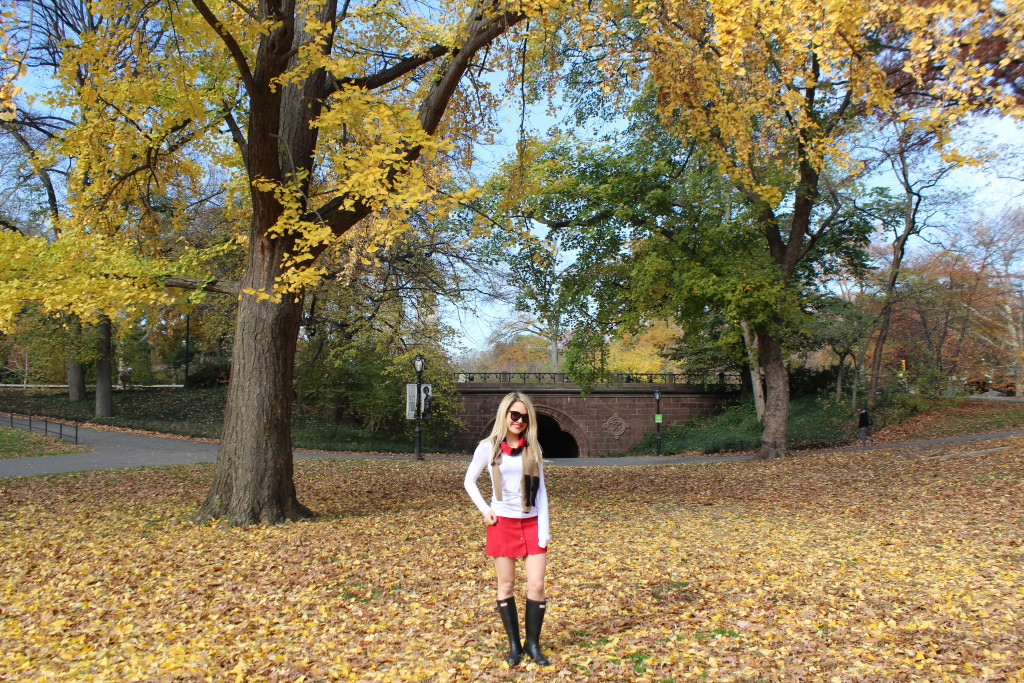 Caitlin Hartley of Styled American girl standing in the leaves in Central Park