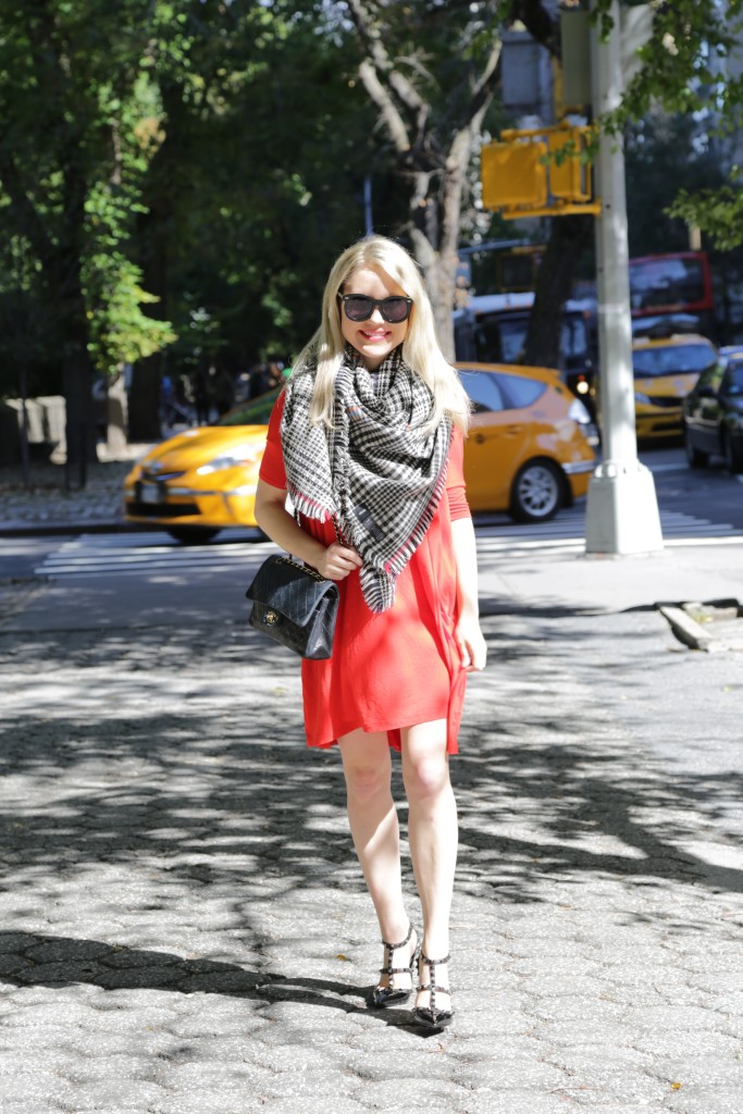 Caitlin Hartley of Styled American plaid blanket scarf, Valentino pumps, winter outfit ideas