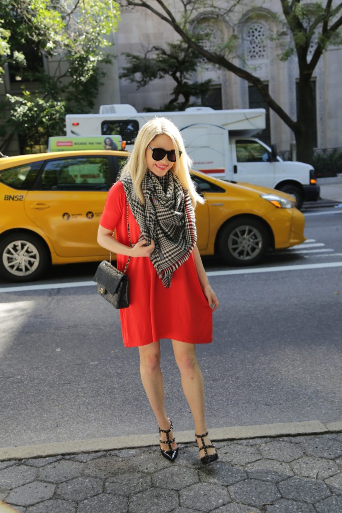 Caitlin Hartley of Styled American red dress, blanket scarf and black valentino pumps, NYC fashion blogger