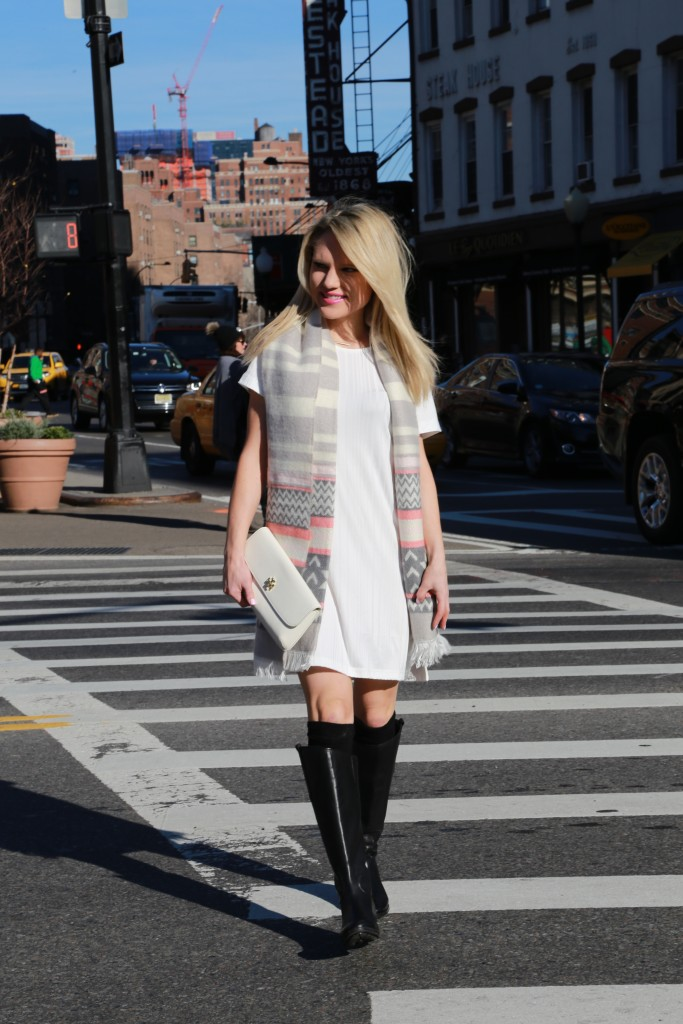 Caitlin Hartley of Styled American fairsle scarf and black knee high boots