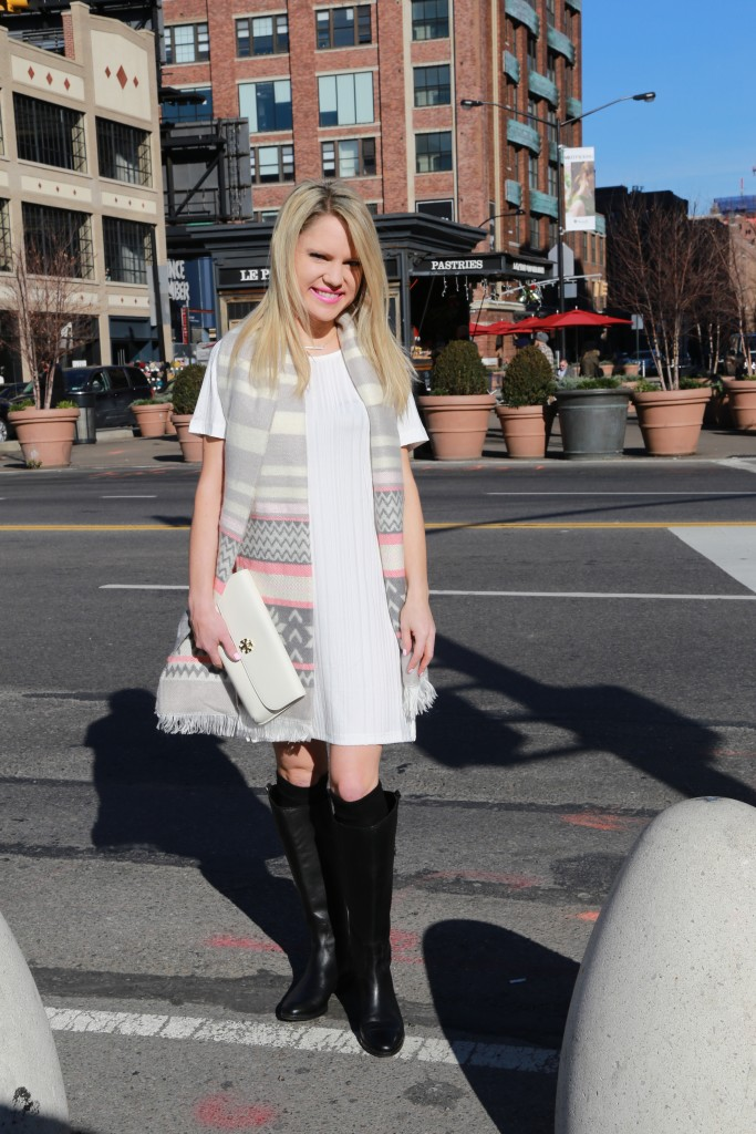 Caitlin Hartley of Styled American snowflake scarf and white dress