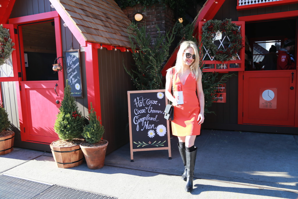 Caitlin Hartley of Styled American in front of hot cocoa stand
