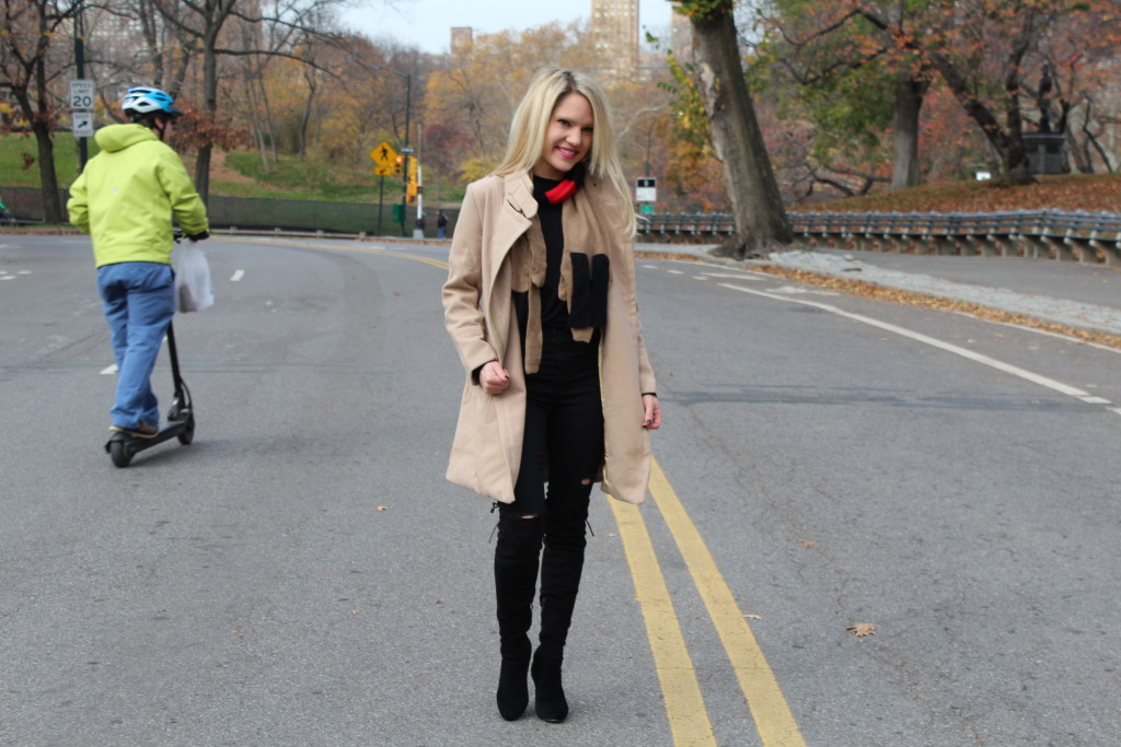 Caitlin Hartley of Styled American black over the knee boots, tan winter coat