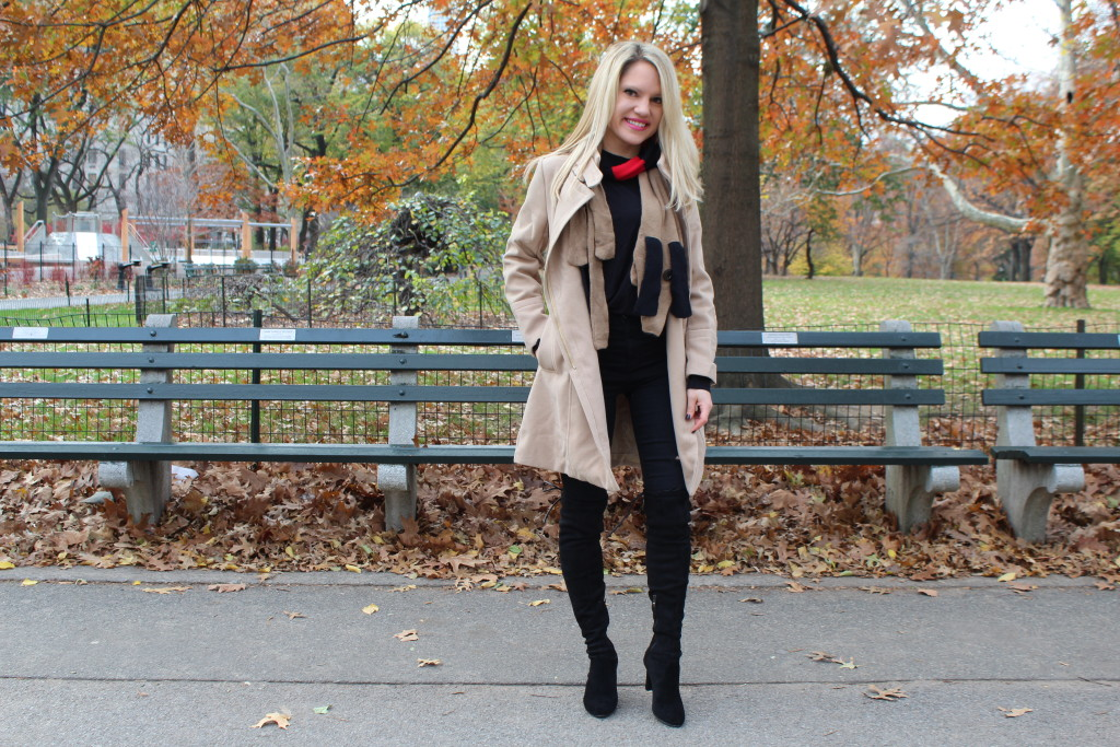 Caitlin Hartley of Styled American winter fashion, tan coat, black, red and tan scarf