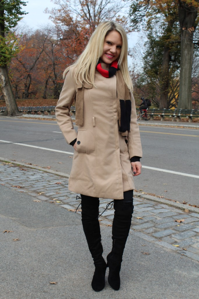 Caitlin Hartley of Styled American nude winter coat, black denim and over the knee boots