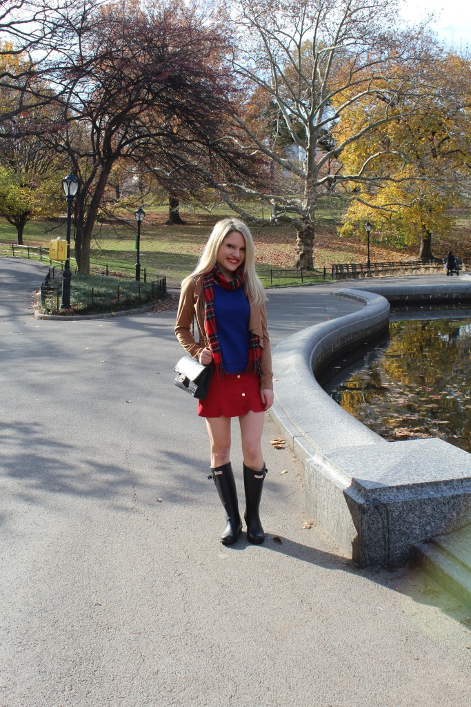 Caitlin Hartley of Styled American red plaid top, suede cardigan and plaid scarf