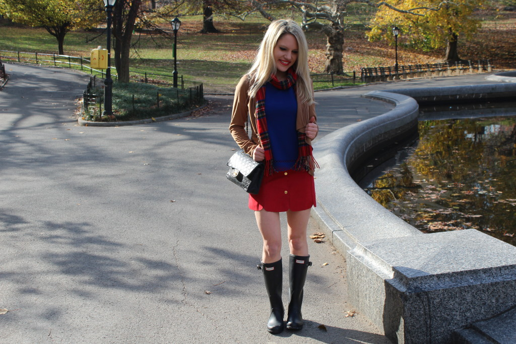 Caitlin Hartley of Styled American red plaid scarf, brown suede waterfall cardigan