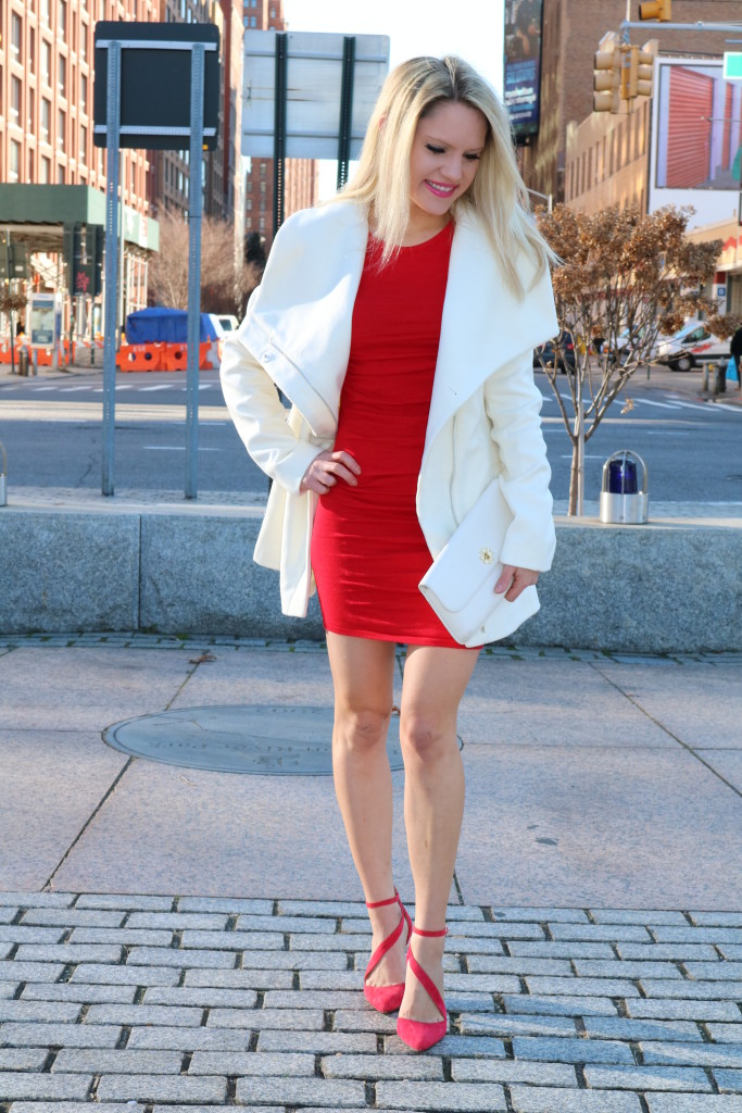 Red Dress And White Coat V Day Look Styled American