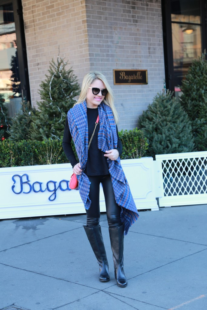 Caitlin Hartley of Styled American winter style with a pop of red
