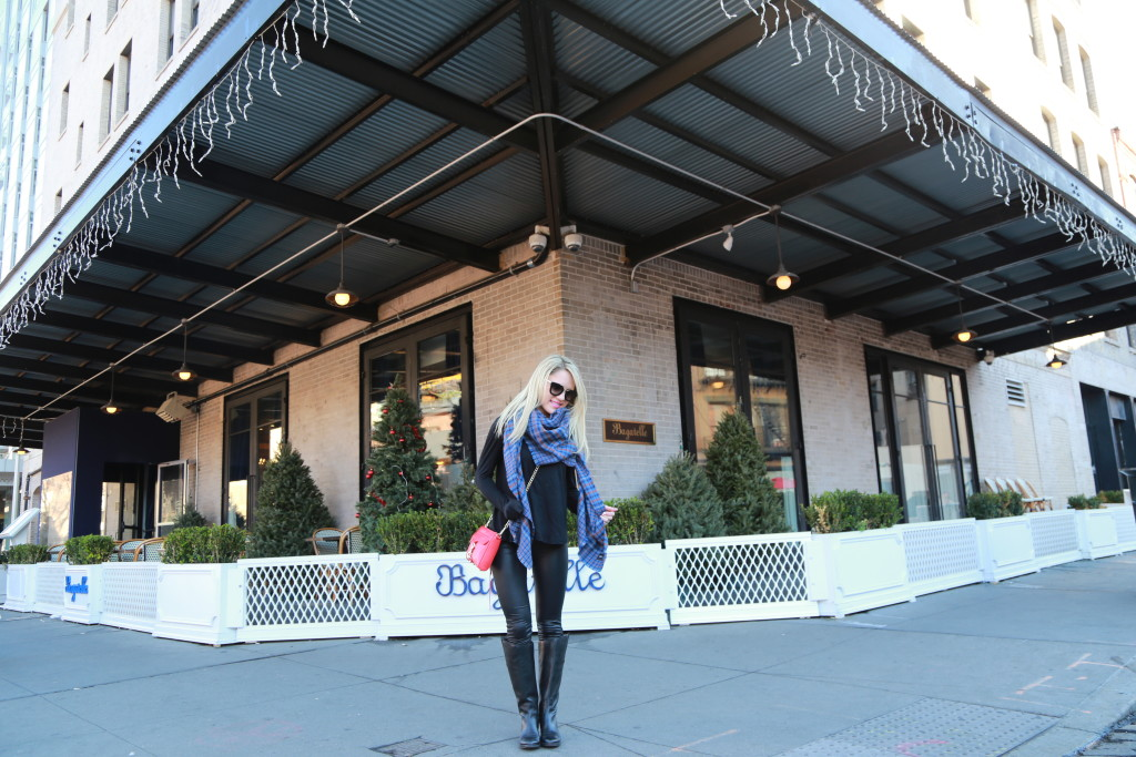 Caitlin Hartley of Styled American navy blanket scarf, black leggings and sam edelman boots