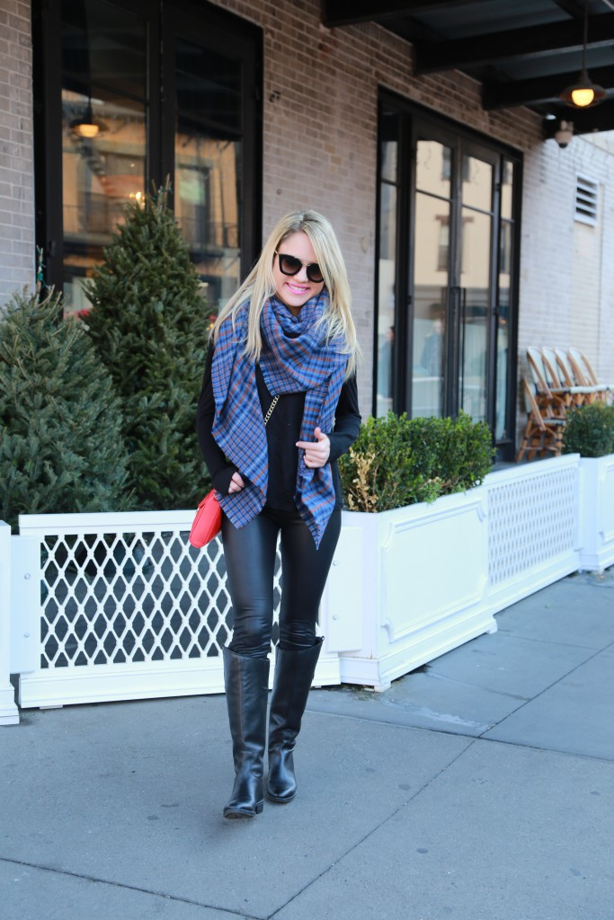 Caitlin Hartley of Styled American blue ASOS scarf, red rebecca minkoff bag