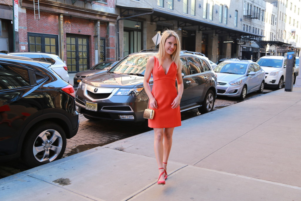Caitlin Hartley of Styled American deep v red dress, red dress for valentine's day