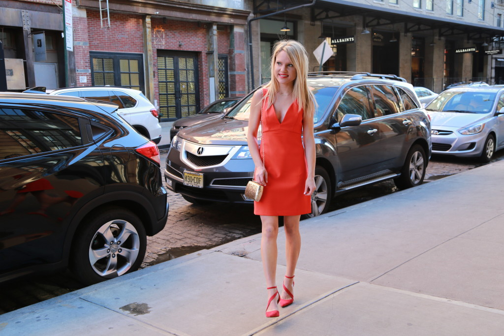 Caitlin Hartley of Styled American fashion blogger in red dress