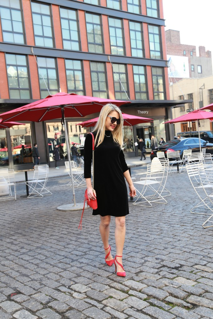 Caitlin Hartley of Styled American black velvet lbd and a pop of red