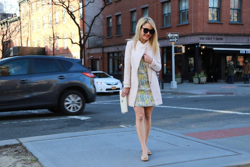 Caitlin Hartley of Styled American Spring dress and pink coat