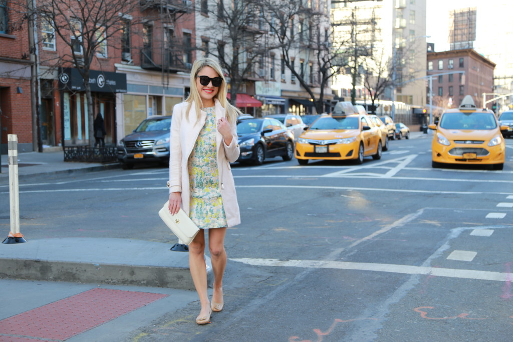 Caitlin Hartley of Styled American green and yellow floral print dress