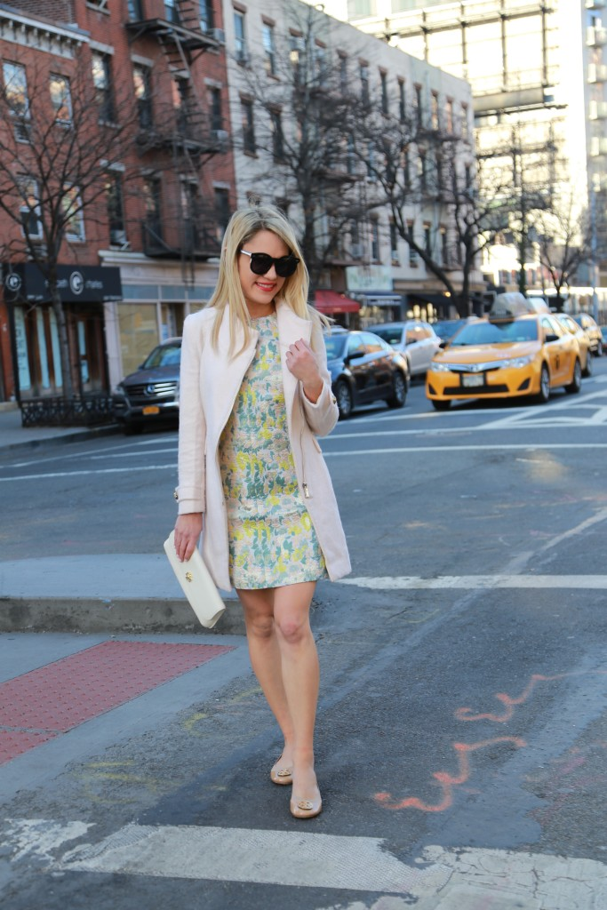 Caitlin Hartley of Styled American sleeveless floral dress and light coat