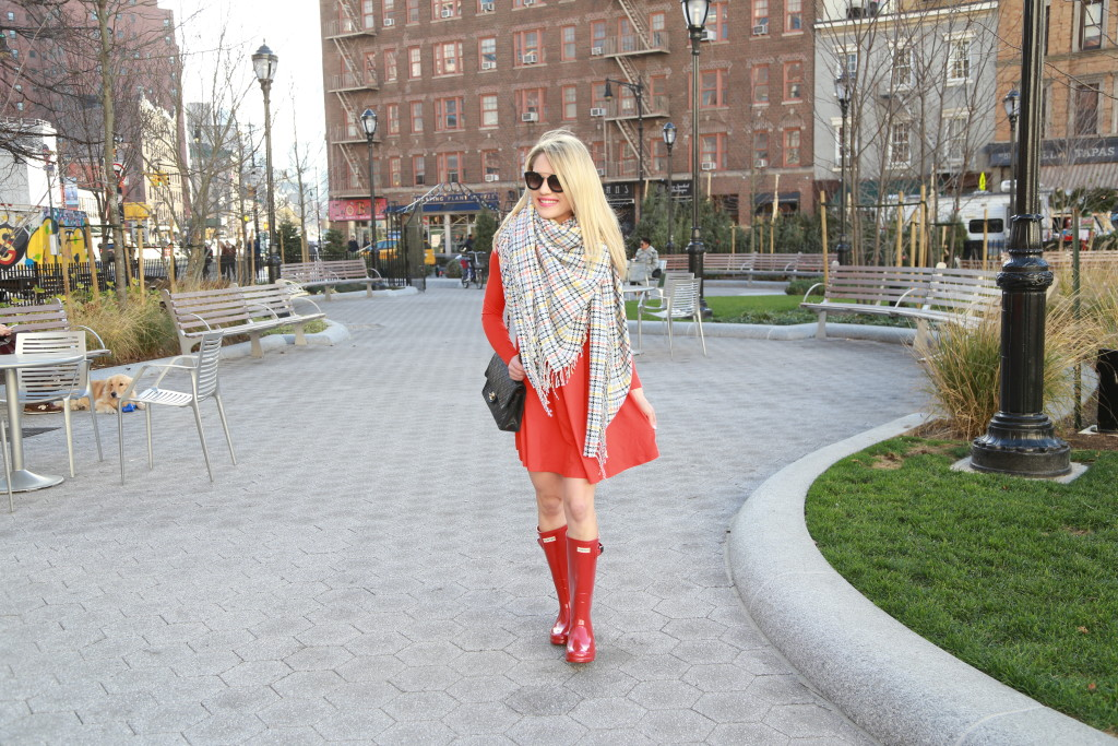 Caitlin Hartley of Styled American red dress and red boots
