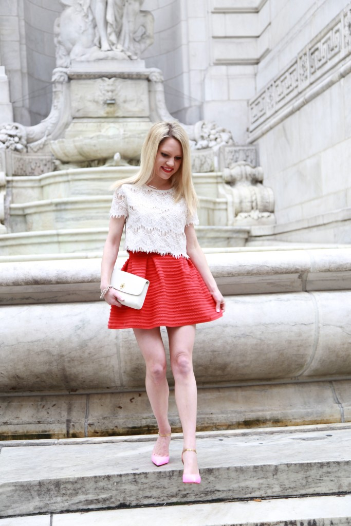 Caitlin Hartley of Styled American pink christian louboutin pumps with a full skirt