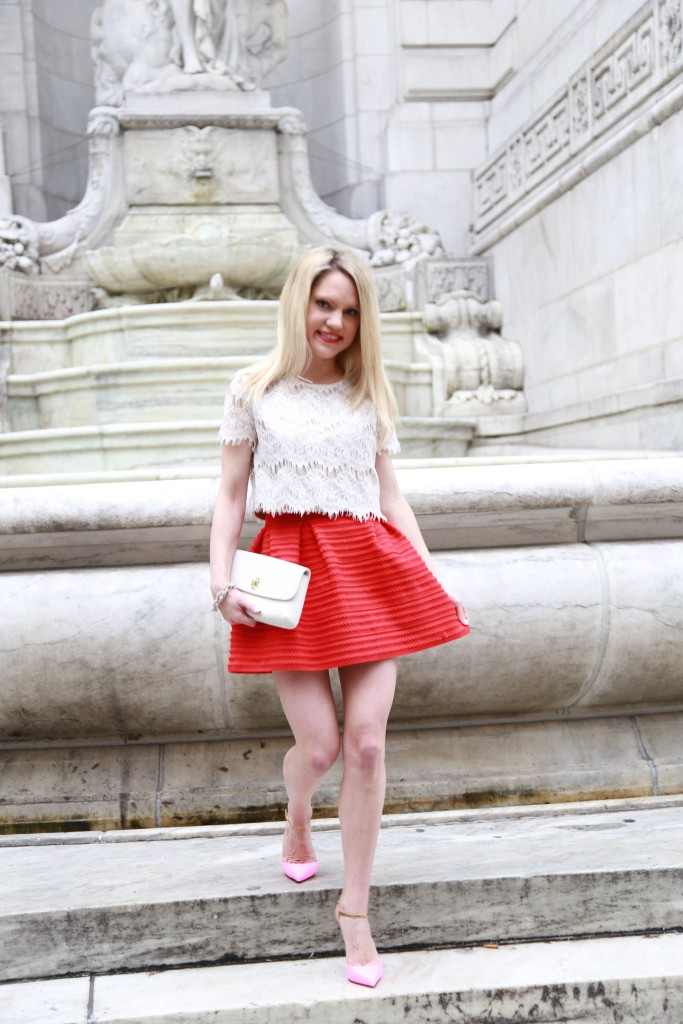 Caitlin Hartley of Styled American forever 21 top, h & m skirt and christian louboutin pumps, mixing the highs with the lows
