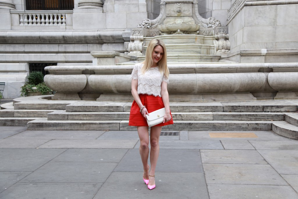 Caitlin Hartley of Styled American red skirt, white crop top