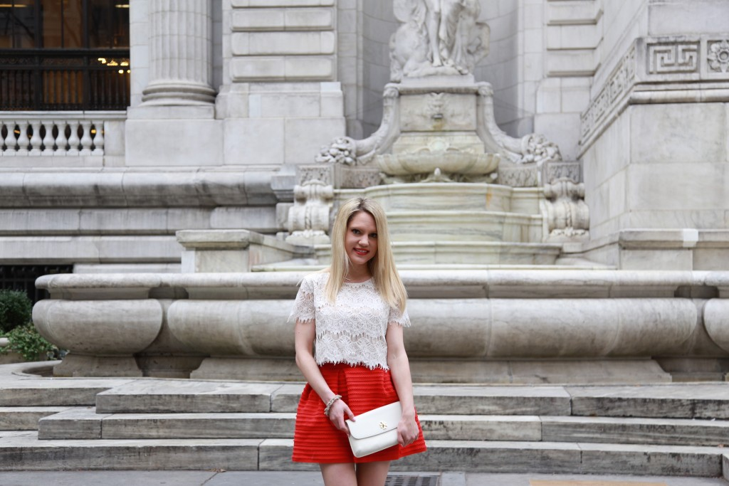 Caitlin Hartley of Styled American red full skirt and white lace crop top, style blogger in nyc