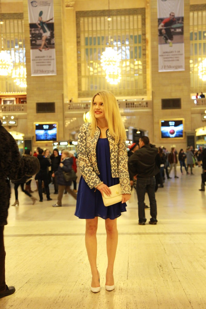 Caitlin Hartley of Styled American aztec blazer, express dress and pumps
