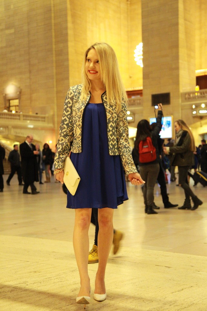 Caitlin Hartley of Styled American h & m blazer, express dress, charles david pumps and tory burch clutch