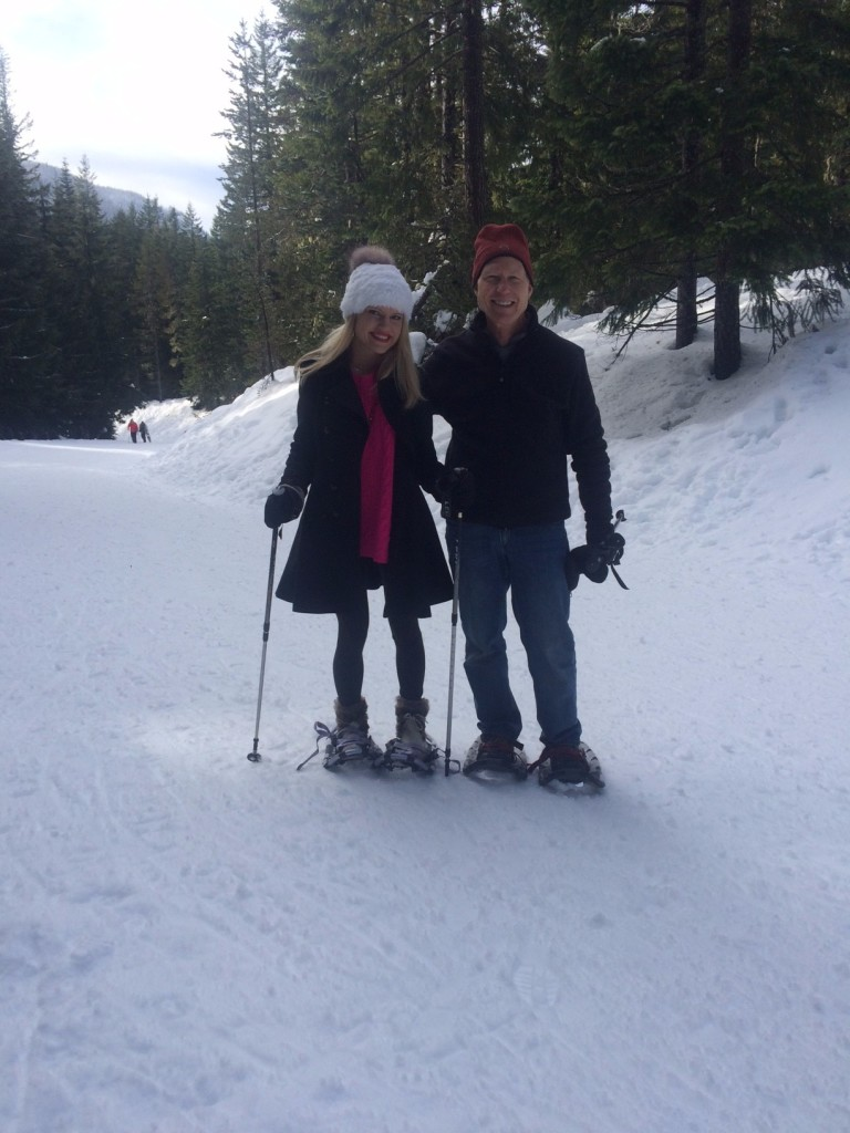 Caitlin Hartley of Styled American father/daughter snow shoeing