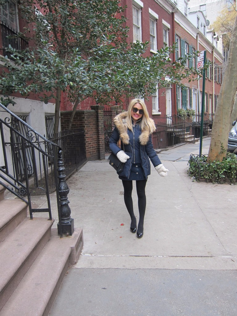 Caitlin Hartley of Styled American Winter down coat