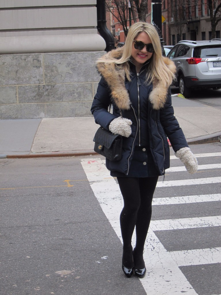 Caitlin Hartley of Styled American fashion blogger in Mackage coat