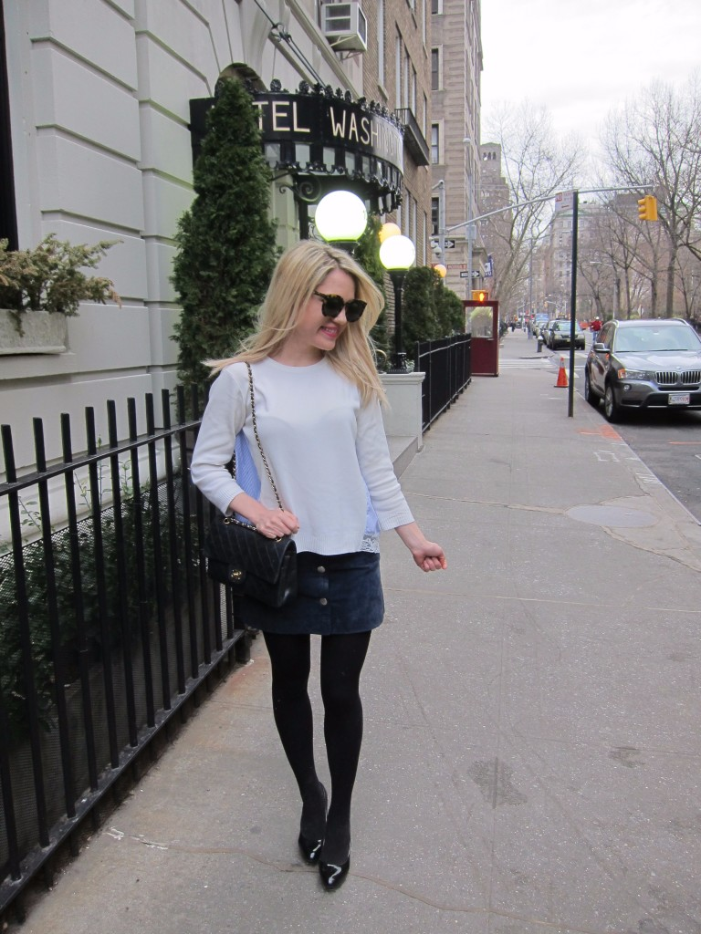 Caitlin Hartley of Styled American style blogger in front of Hotel Washington Square in New York City