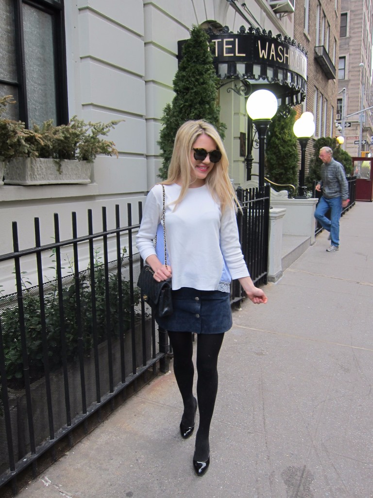 Caitlin Hartley of Styled American in front of the Hotel Washington Square