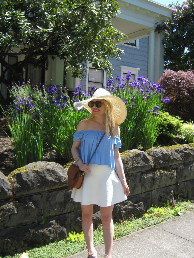 Caitlin-Hartley-of-Styled-American-fit-for-rose-garden-nordstrom-floppy-hat-off-the-shoulder-top