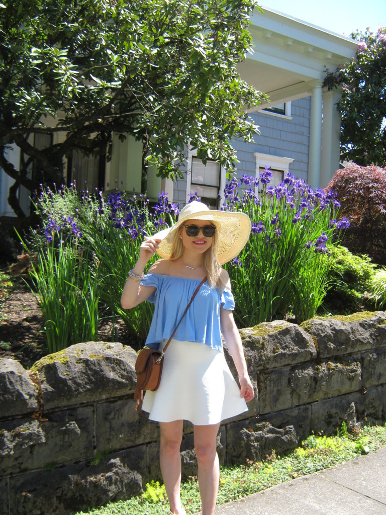 Caitlin-Hartley-of-Styled-American-nordstrom-style-floppy-hat-off-the-shoulder-top