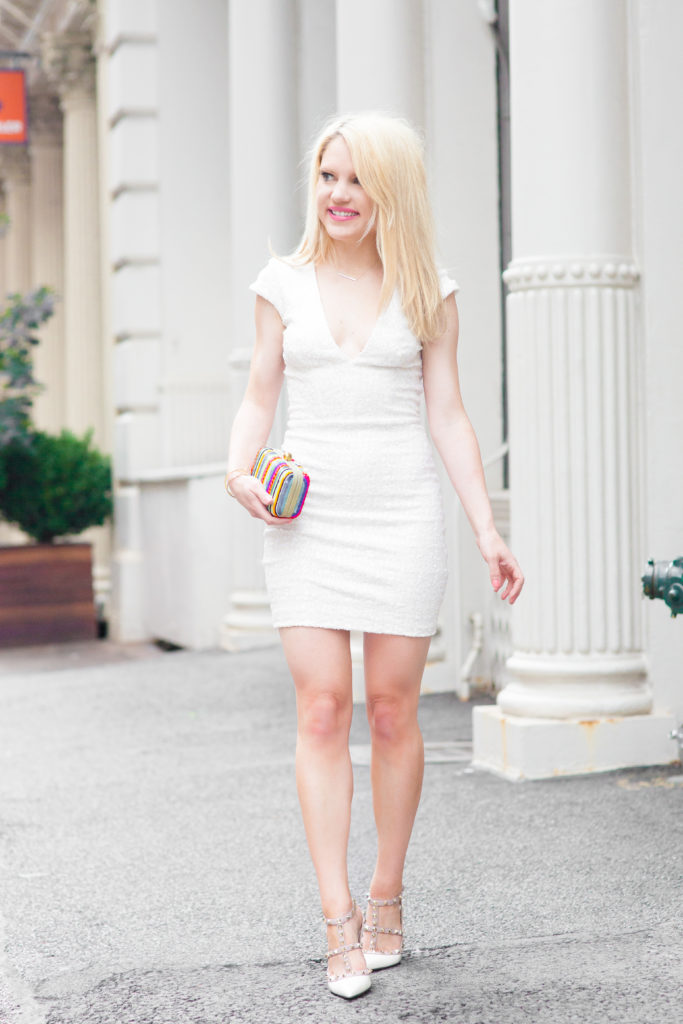 white-sequin-dress-cap-sleeves-v-neck