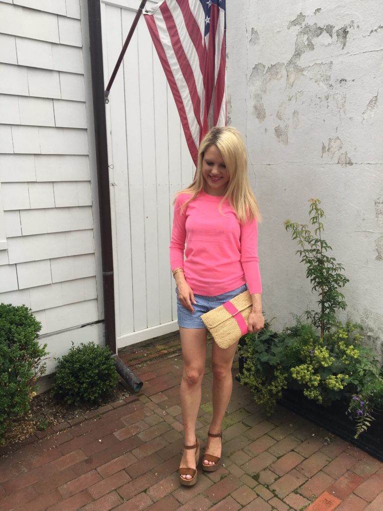 Caitlin-Hartley-of-Styled-American-pink-top-gingham-shorts-ribbon-clutch-randi-wedges