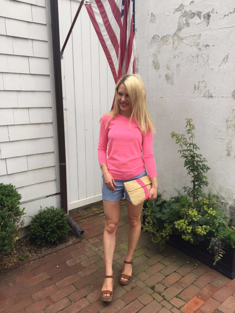 Caitlin-Hartley-of-Styled-American-jcrew-sweater-gingham-shorts-summer-clutch