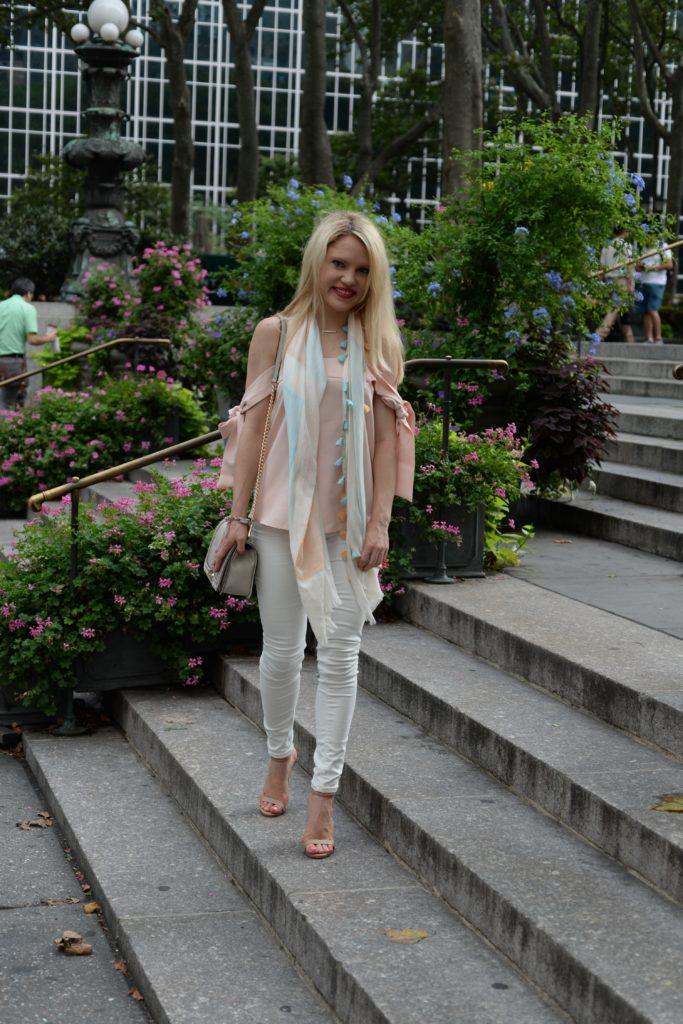 tassel-scarf-pink-top-white-denim-nude-heels