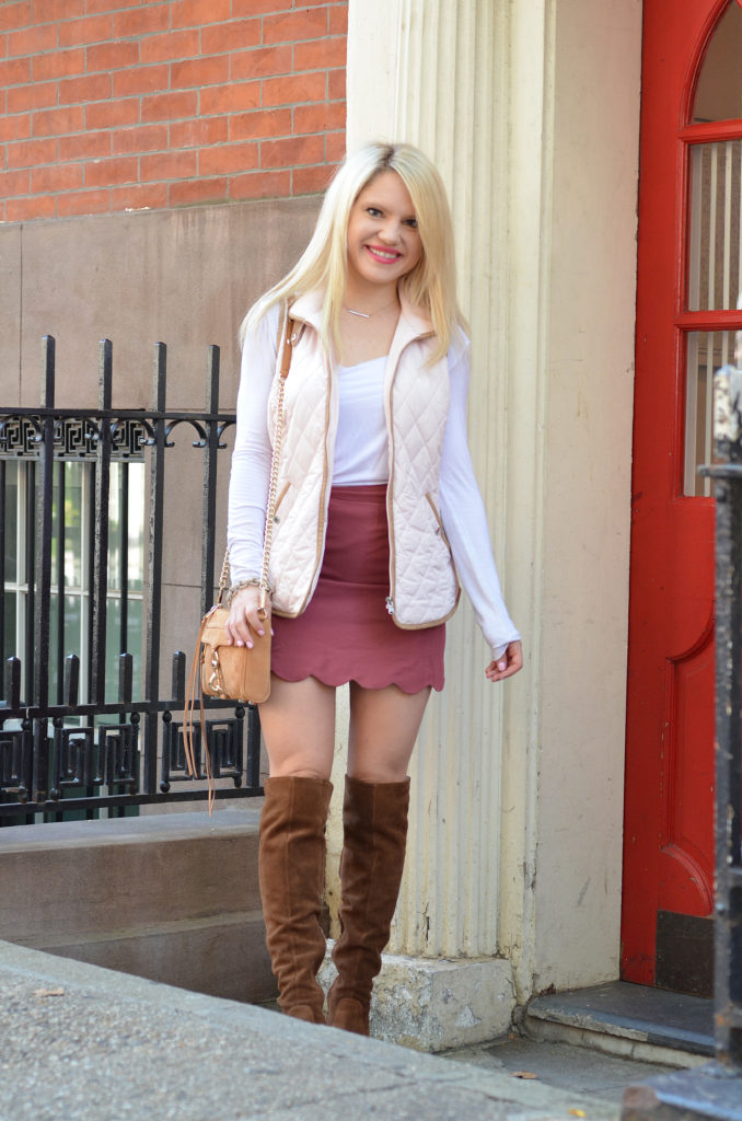 pink-vest-scalloped-skirt-suede-bag-over-the-knee-boots