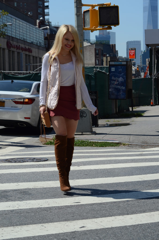 fall-fashion-pink-vest-scalloped-skirt